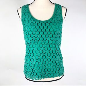 J Crew Kelly Green Crochet Tank Top Med